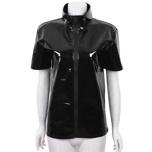 Metallic Zip Up Shirt Sissy Panty Shop