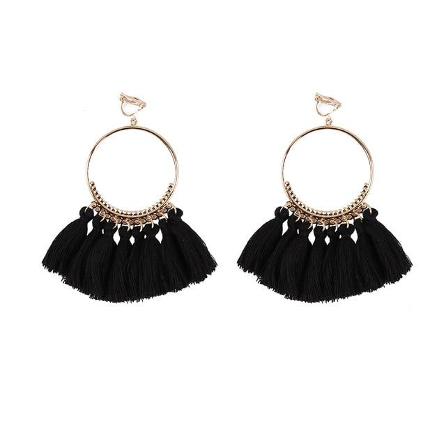 Bohemian Tassel Clip On Earrings Sissy Panty Shop black