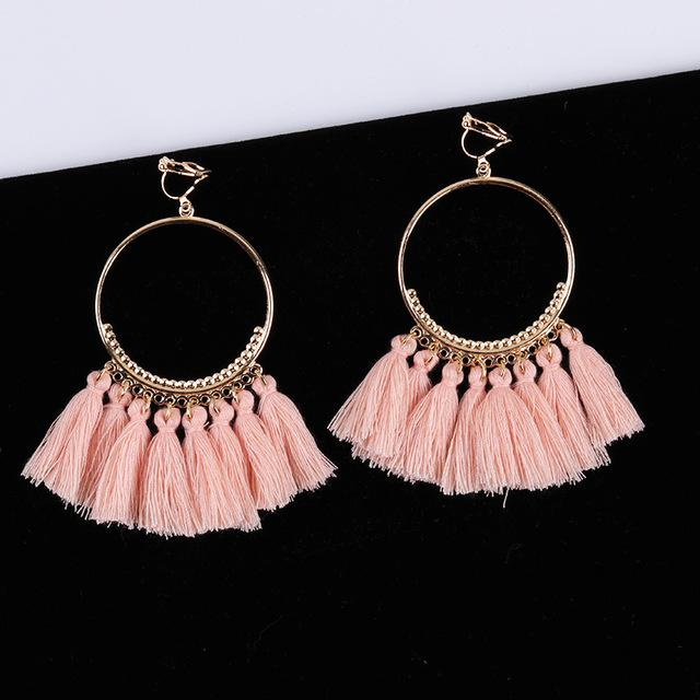 Bohemian Tassel Clip On Earrings Sissy Panty Shop pink