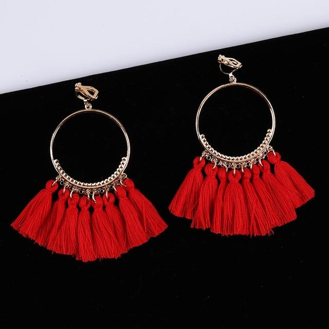 Bohemian Tassel Clip On Earrings Sissy Panty Shop red