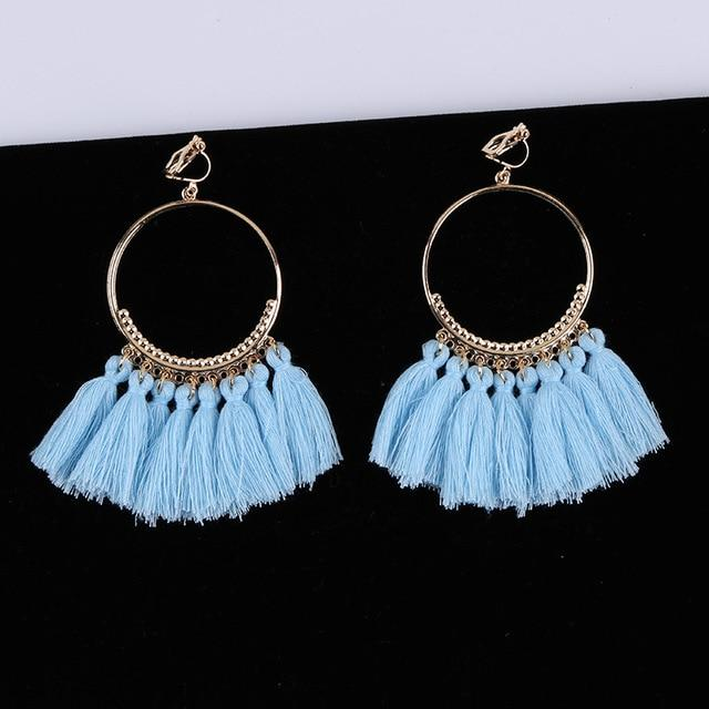 Bohemian Tassel Clip On Earrings Sissy Panty Shop sky bule