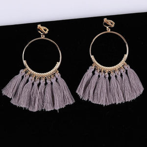 Bohemian Tassel Clip On Earrings Sissy Panty Shop grey