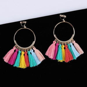 Bohemian Tassel Clip On Earrings Sissy Panty Shop colorful