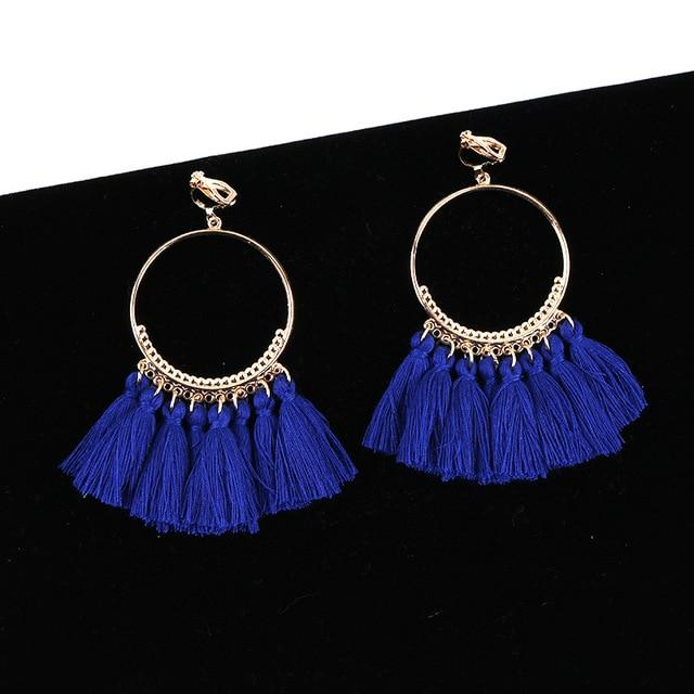 Bohemian Tassel Clip On Earrings Sissy Panty Shop blue