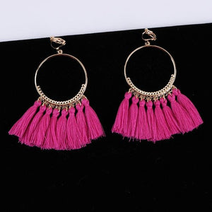 Bohemian Tassel Clip On Earrings Sissy Panty Shop fushia