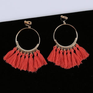 Bohemian Tassel Clip On Earrings Sissy Panty Shop coral