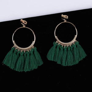 Bohemian Tassel Clip On Earrings Sissy Panty Shop green