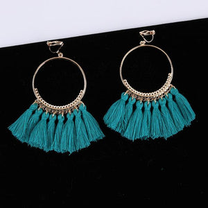 Bohemian Tassel Clip On Earrings Sissy Panty Shop teal