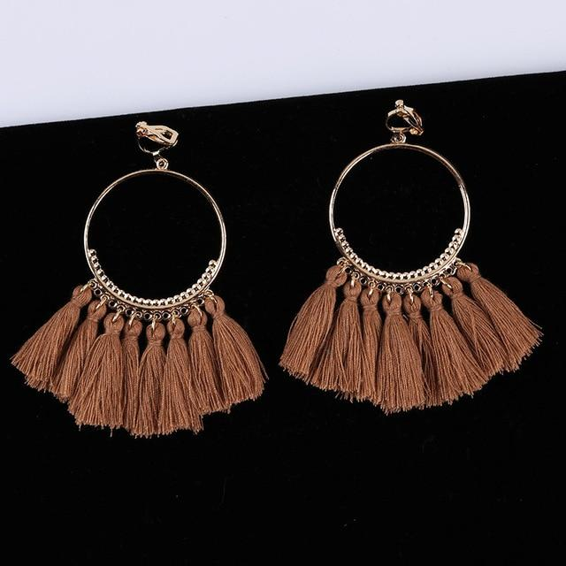 Bohemian Tassel Clip On Earrings Sissy Panty Shop brown