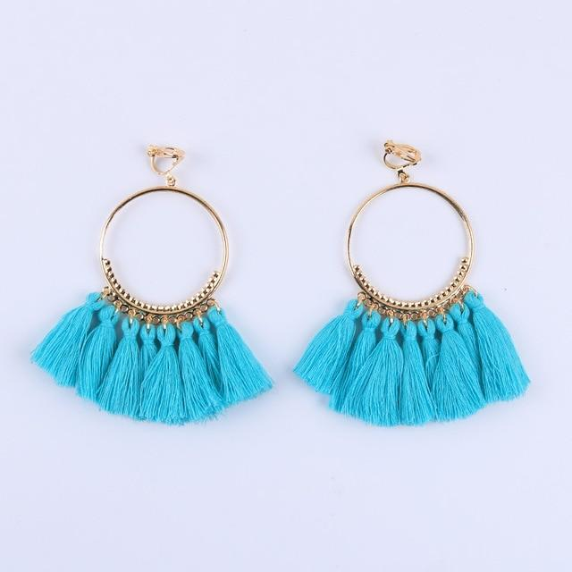 Bohemian Tassel Clip On Earrings Sissy Panty Shop cyan