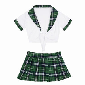 School Girl Uniform Costume Sissy Panty Shop Green White M
