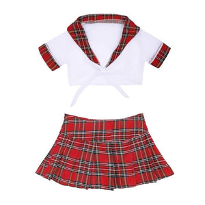 School Girl Uniform Costume Sissy Panty Shop White Red M