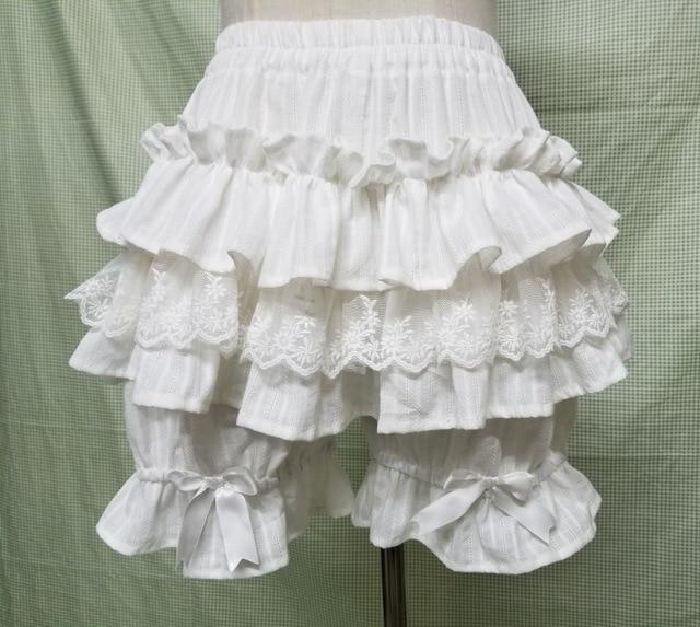 Lolita Ruffled Cotton Bloomers Sissy Panty Shop White One Size