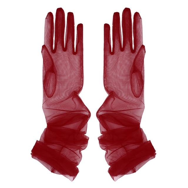 Transparent Sheer Tulle Gloves Sissy Panty Shop Burgundy One Size