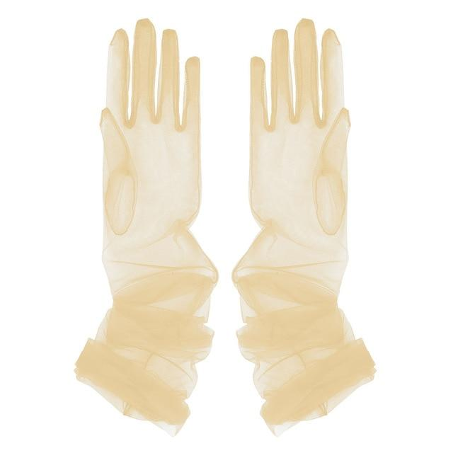 Transparent Sheer Tulle Gloves Sissy Panty Shop Champagne One Size