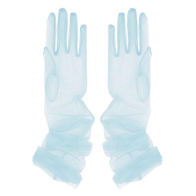 Transparent Sheer Tulle Gloves Sissy Panty Shop Sky Blue One Size