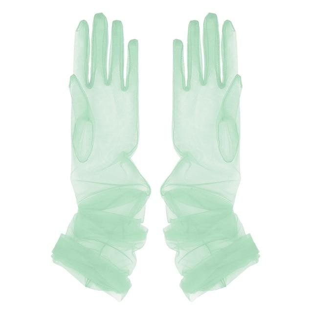 Transparent Sheer Tulle Gloves Sissy Panty Shop Light Green One Size