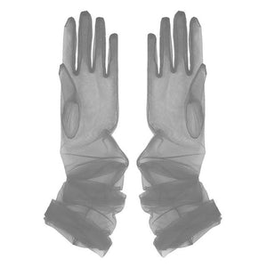 Transparent Sheer Tulle Gloves Sissy Panty Shop Grey One Size