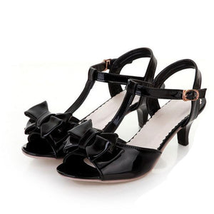 """Tranny Lorena"" Bow Sandals Sissy Panty Shop Black 10"
