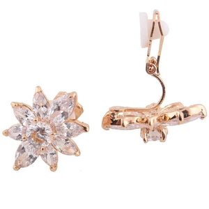 Lux Flower Clip On Earrings