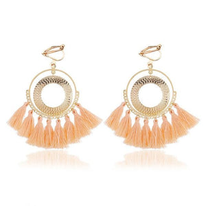 Boho Tassel Clip On Earrings Sissy Panty Shop light pink