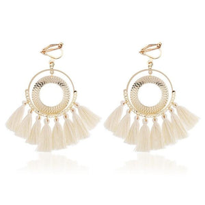 Boho Tassel Clip On Earrings Sissy Panty Shop beige