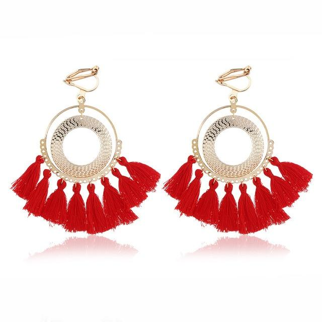 Boho Tassel Clip On Earrings Sissy Panty Shop red