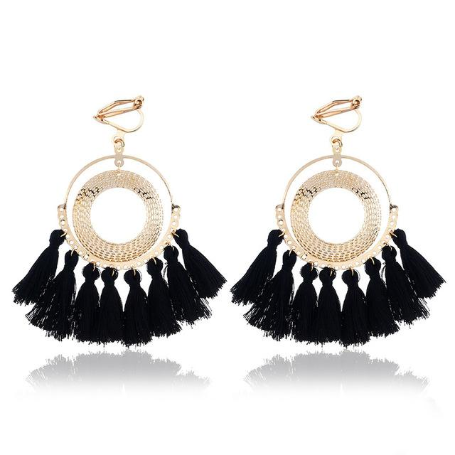 Boho Tassel Clip On Earrings Sissy Panty Shop black