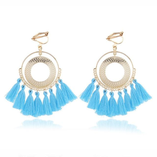 Boho Tassel Clip On Earrings Sissy Panty Shop sky blue