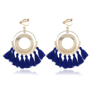 Boho Tassel Clip On Earrings Sissy Panty Shop navy blue