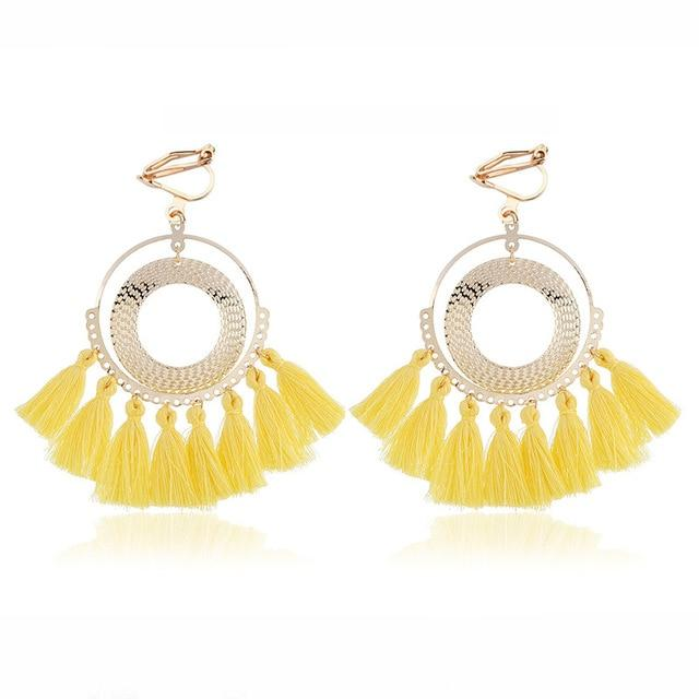 Boho Tassel Clip On Earrings Sissy Panty Shop yellow