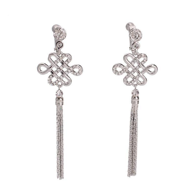 Chinese Knot Clip On Earrings