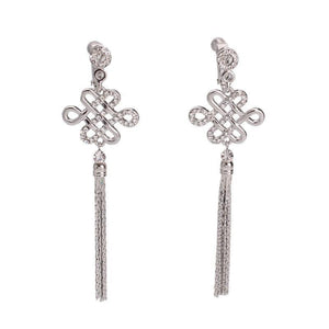 Chinese Knot Clip On Earrings Sissy Panty Shop silver