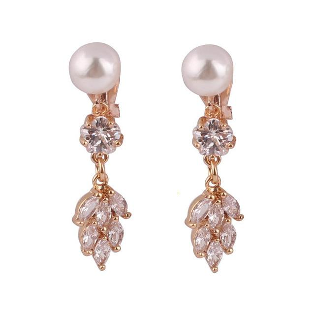 Faux Pearl & Crystal Clip on Earrings Sissy Panty Shop A