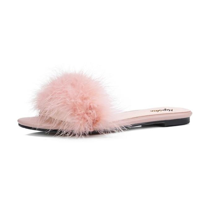 """Tranny Dinorah"" Fur Slippers Sissy Panty Shop Pink 7"