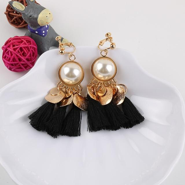 Faux Pearl Tassel Clip On Earrings Sissy Panty Shop black