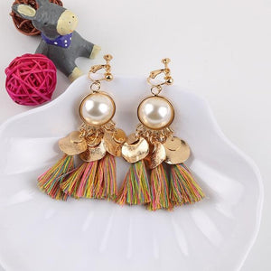 Faux Pearl Tassel Clip On Earrings Sissy Panty Shop multi
