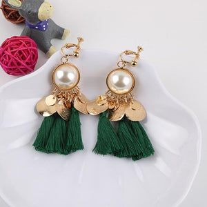 Faux Pearl Tassel Clip On Earrings Sissy Panty Shop green