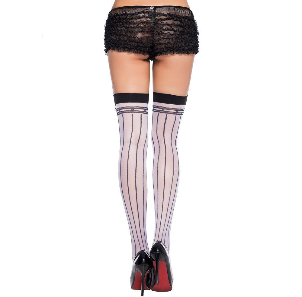 Bow Lace Striped Stockings Sissy Panty Shop