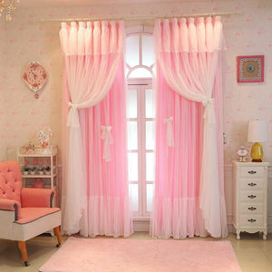 Lace Pink Tulle Curtains Sissy Panty Shop Pink Semi-shading W100cm X L270cm 1. Grommet top
