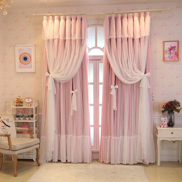 Lace Pink Tulle Curtains Sissy Panty Shop Pink Full shading W100cm X L270cm 1. Grommet top