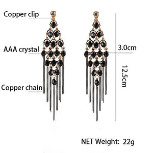 Tassel Crystal Clip On Earrings Sissy Panty Shop