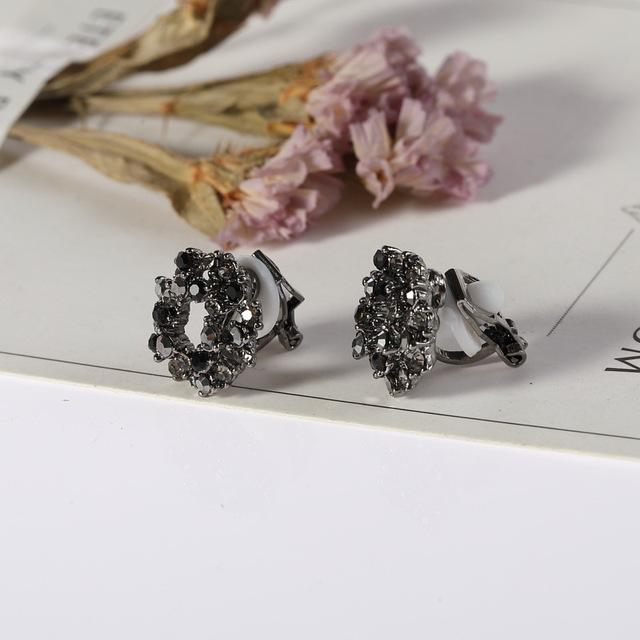 Black Crystal Clip On Earrings Sissy Panty Shop