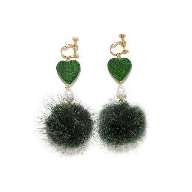Mink Fur Ball Clip on Earrings Sissy Panty Shop green
