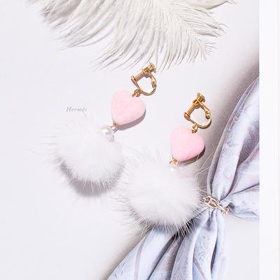 Mink Fur Ball Clip on Earrings Sissy Panty Shop pink