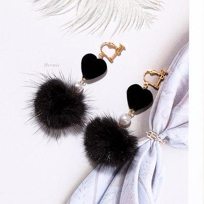 Mink Fur Ball Clip on Earrings Sissy Panty Shop black