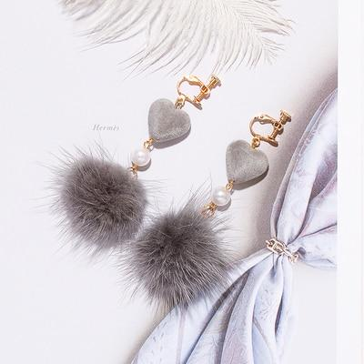 Mink Fur Ball Clip on Earrings Sissy Panty Shop grey