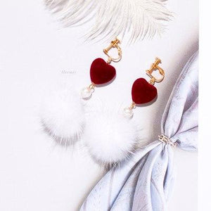 Mink Fur Ball Clip on Earrings Sissy Panty Shop white
