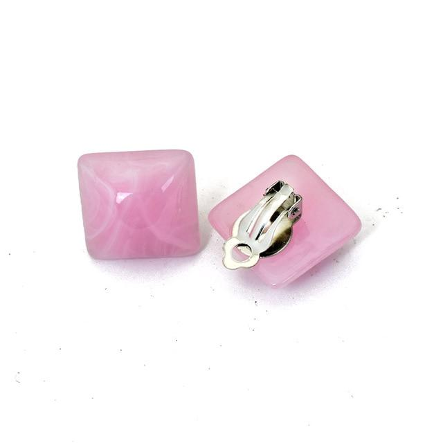 Square Clip On Earrings Sissy Panty Shop pink