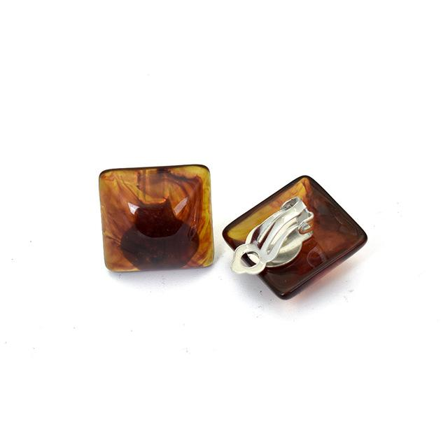 Square Clip On Earrings Sissy Panty Shop brown